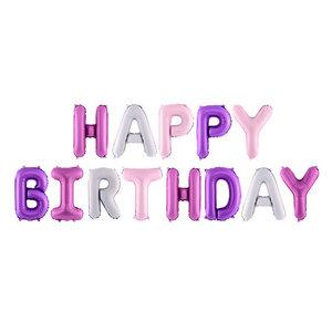 Folieballonnen Happy Birthday roze paars zilver