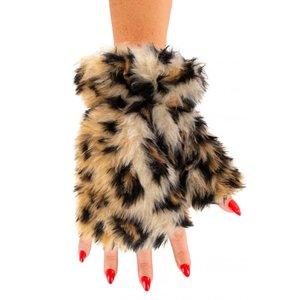 Vingerloze handschoenen pluche Luipaard