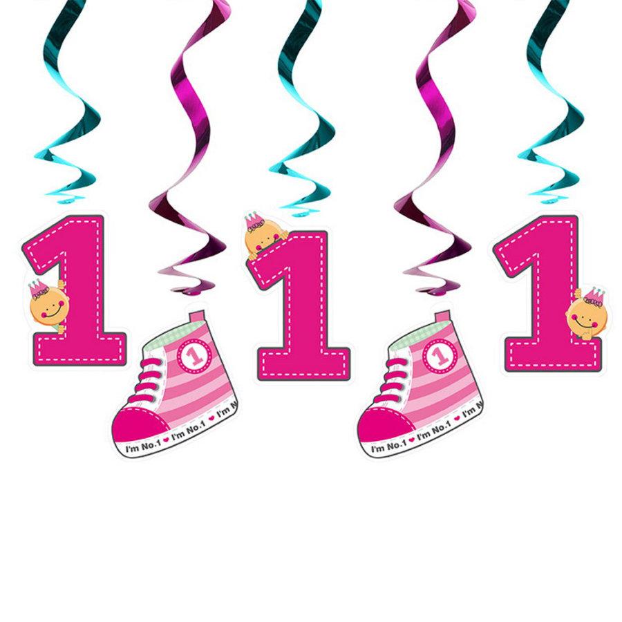 Hangdecoratie 1 jaar met gym schoentjes roze