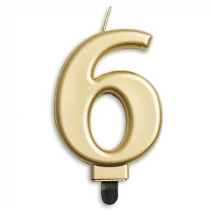 Kaars 6 jaar goudkleurig luxe