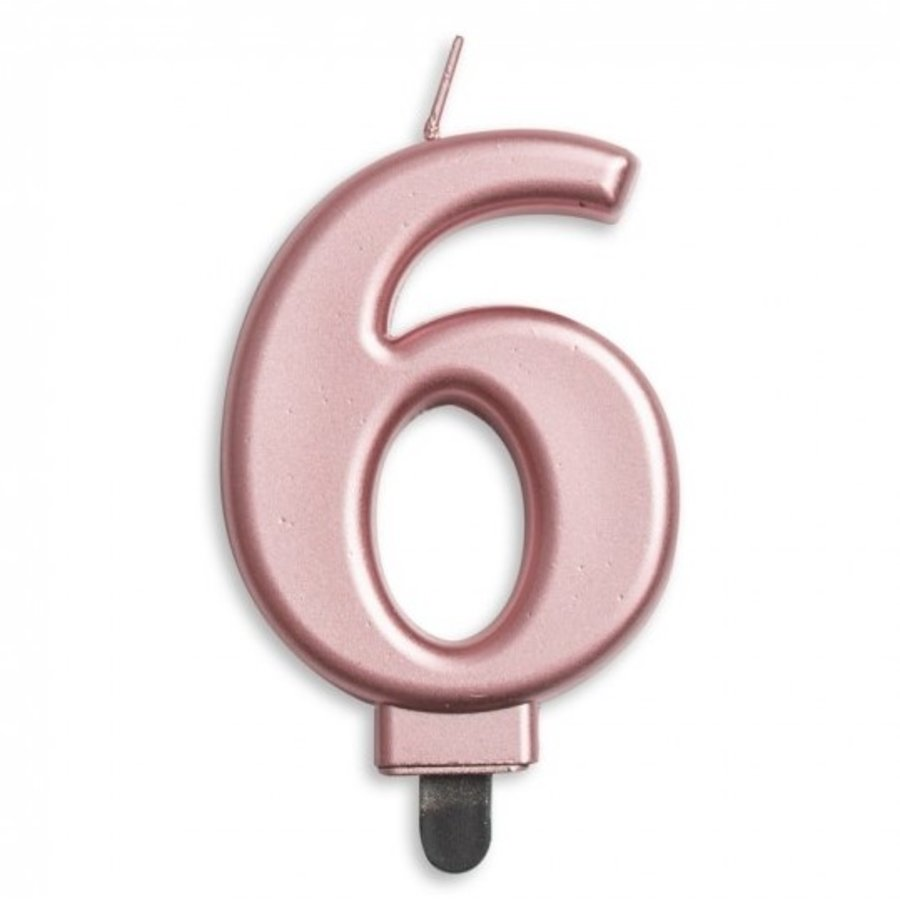 Kaars 6 jaar rosé luxe