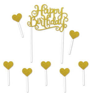 Taartdecoraties Happy Birthday Hearts goudkleurig