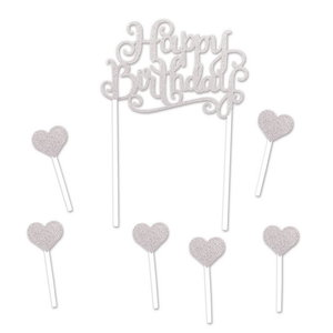 Taartdecoraties Happy Birthday Hearts zilverkleurig