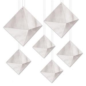 Hangdecoraties diamanten zilverkleurig 6 stuks