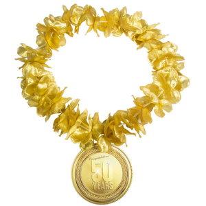 Hawaii krans 50 jaar goudkleurig