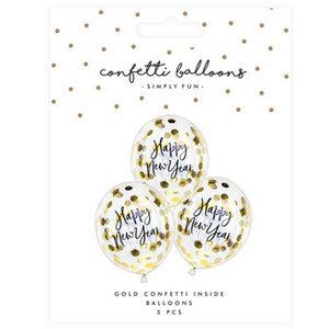 Ballonnen Happy New Year met confetti