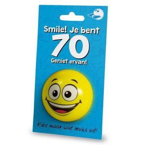 Stressbal Smile Je bent 70 Geniet ervan