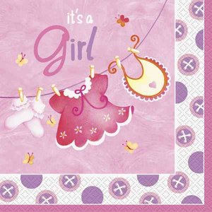 Servetten It's a girl waslijn 16 stuks