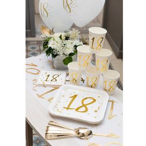 Bekertjes 18 jaar stijlvol goud wit 10 stuks