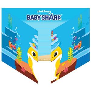 Uitnodigingskaartjes Baby Shark 8 stuks