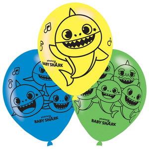 Ballonnen Baby Shark 6 stuks