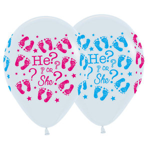 Gender Reveal ballonnen He or She 5 stuks