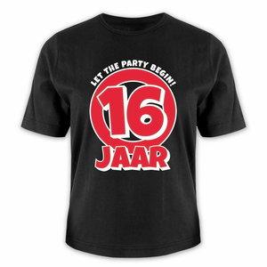 T-shirt 16 jaar let the party begin