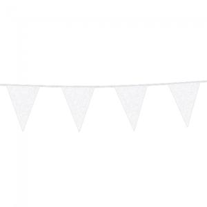 Vlaggenlijn glitter wit 6 meter