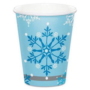 Bekertjes met sneeuwvlokken blauw