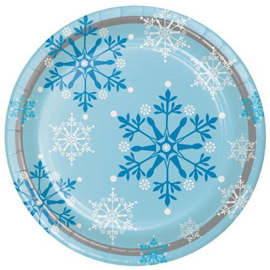 Bordjes met sneeuwvlokken blauw wit