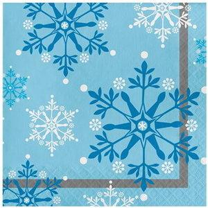 Servetten met sneeuwvlokken blauw wit