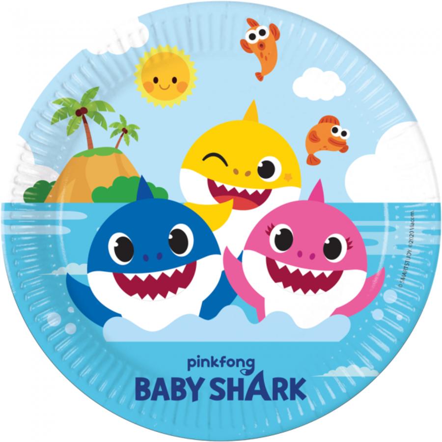 Bordjes Baby Shark happy 8 stuks
