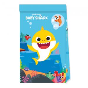 Feestzakjes Baby Shark papier 4 stuks