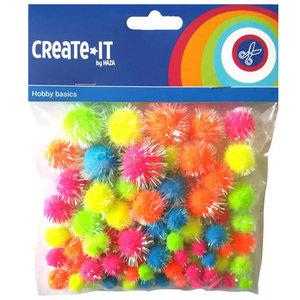 Pompoms glitter neon mix 75 stuks