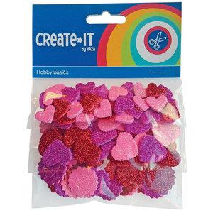 Foam stickers glitter hartjes 132 stuks