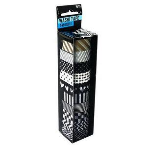 Washi tape zwart wit goud 10 stuks