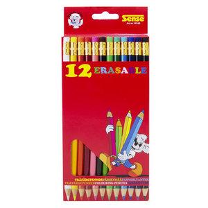 Potloden met gum gekleurd 12 stuks