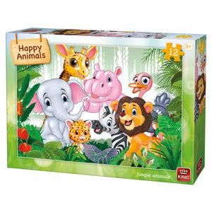 Legpuzzel Blije Jungle dieren 12 stukjes