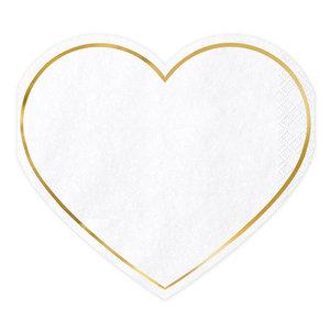 Servetten hart met goudkleurig randje