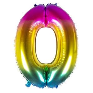Folieballon cijfer 0 REGENBOOG voor lucht of helium MEGA