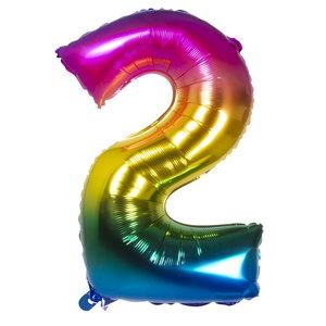 Folieballon cijfer 2 REGENBOOG voor lucht of helium MEGA