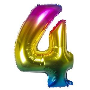 Folieballon cijfer 4 REGENBOOG voor lucht of helium MEGA