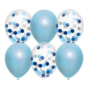 Ballonnen lichtblauw en transparant met confetti