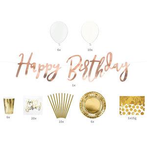 Feestpakket Happy Birthday goud 60-delig