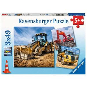 Puzzel Bouwauto's 3 x 49 stukjes