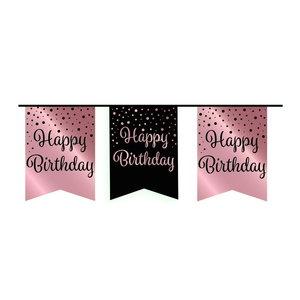 Vlaggenlijn Happy Birthday rosé-zwart