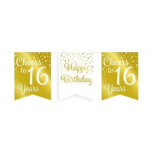Vlaggenlijn 16 jaar goud-wit