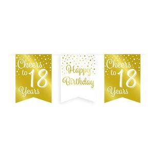 Vlaggenlijn 18 jaar goud-wit