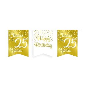Vlaggenlijn 25 jaar goud-wit