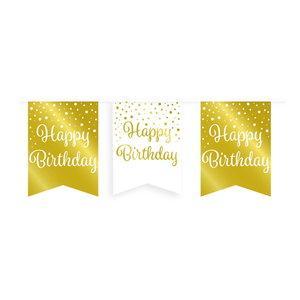 Vlaggenlijn Happy Birthday goud-wit