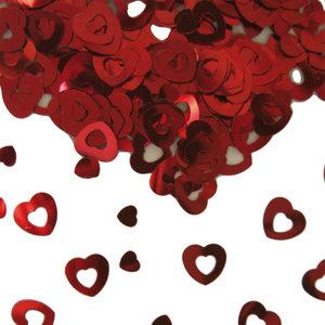 Tafelconfetti hartjes rood