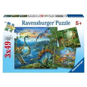 Legpuzzel Dinosaurus 3 x 49 stukjes