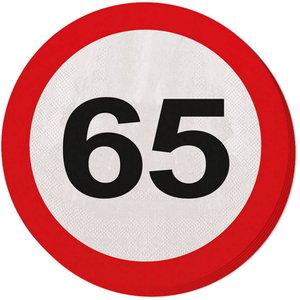 Servetten 65 jaar verkeersbord