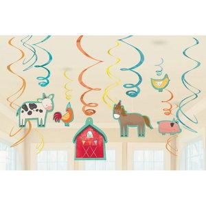 Hangdecoraties boerderij Barnyard 12 stuks