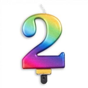 Kaars 2 jaar regenboog luxe