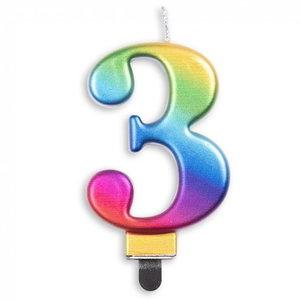 Kaars 3 jaar regenboog luxe