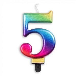 Kaars 5 jaar regenboog luxe