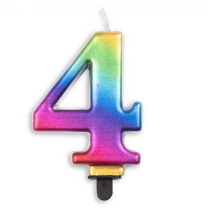 Kaars 4 jaar regenboog luxe