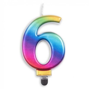 Kaars 6 jaar regenboog luxe