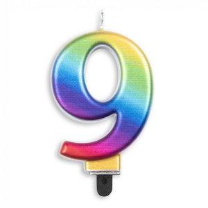 Kaars 9 jaar regenboog luxe